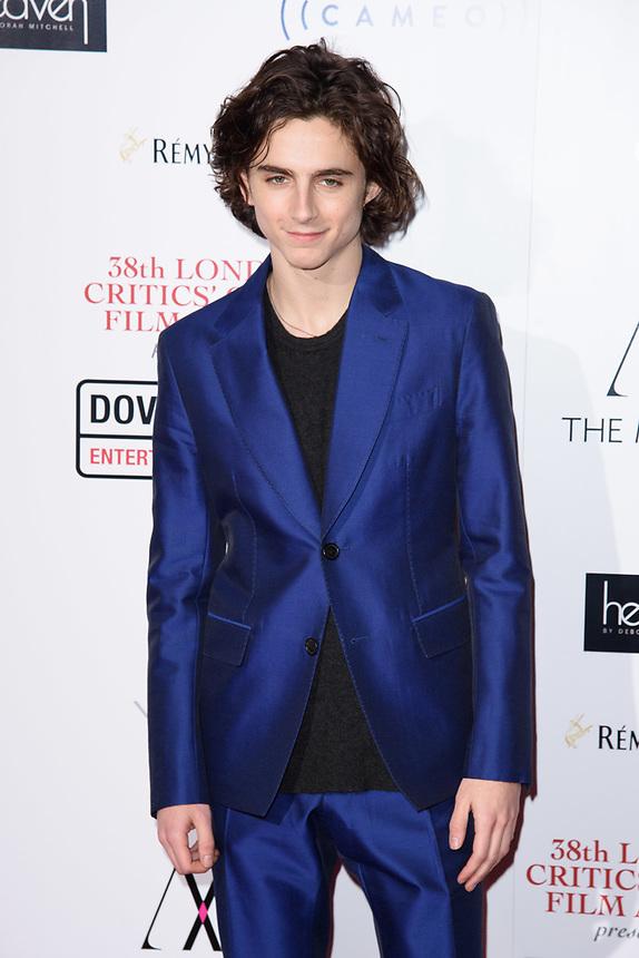 Timothee Chalamet<br /> arriving for the Critic's Circle Film Awards 2018, Mayfair Hotel, London<br /> <br /> <br /> ©Ash Knotek  D3374  28/01/2018