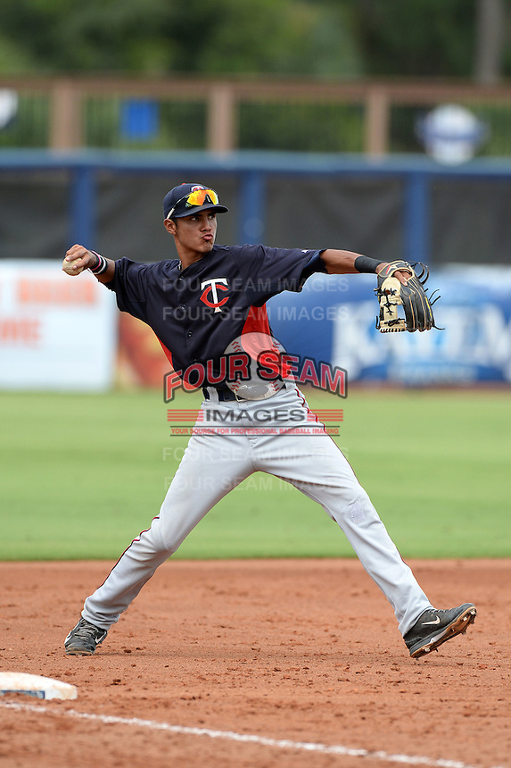 Minnesota Twins third baseman Nelson Molina (19) during an Instructional League game against the Tampa Bay Rays on September 16, 2014 at Charlotte Sports Park in Port Charlotte, Florida.  (Mike Janes/Four Seam Images)