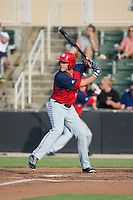 Jeff Gardner (13) of the Hagerstown Suns at bat against the Kannapolis Intimidators at Intimidators Stadium on July 18, 2015 in Kannapolis, North Carolina.  The Intimidators defeated the Suns 1-0.  (Brian Westerholt/Four Seam Images)