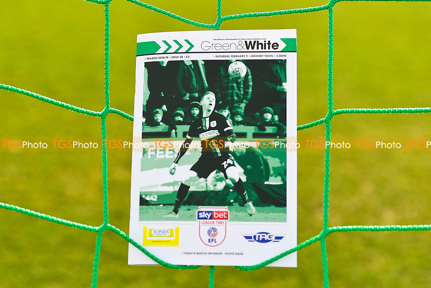 Craig Alcock of Yeovil Town on the front of the match day programme during Yeovil Town vs Grimsby Town, Sky Bet EFL League 2 Football at Huish Park on 9th February 2019