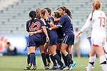 04 November 2012: Virginia players celebrate after a goal. The University of Virginia Cavaliers defeated the University of Maryland Terrapins 4-0 at WakeMed Stadium in Cary, North Carolina in a 2012 NCAA Division I Women's Soccer and Atlantic Coast Conference Tournament Championship game.