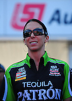 May 6, 2012; Commerce, GA, USA: NHRA funny car driver Alexis DeJoria during the Southern Nationals at Atlanta Dragway. Mandatory Credit: Mark J. Rebilas-