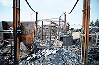 Remains of a severe factory fire. This image may only be used to portray the subject in a positive manner..©shoutpictures.com..john@shoutpictures.com