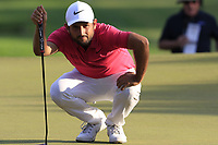 Alexander Levy (FRA) lines up his putt on the 18th green at the end of Sunday's Final Round of the 2018 Turkish Airlines Open hosted by Regnum Carya Golf &amp; Spa Resort, Antalya, Turkey. 4th November 2018.<br /> Picture: Eoin Clarke | Golffile<br /> <br /> <br /> All photos usage must carry mandatory copyright credit (&copy; Golffile | Eoin Clarke)