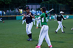 Tashiro Yasunori of trainer of Japanese team changing interactions and knowledge with Pakistanis player during the BFA Women's Baseball Asian Cup match between Pakistan and Japan at Sai Tso Wan Recreation Ground on September 4, 2017 in Hong Kong. Photo by Marcio Rodrigo Machado / Power Sport Images