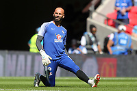 Chelsea goalkeeper, Willy Caballero, warms up pre-match during Chelsea vs Manchester City, FA Community Shield Football at Wembley Stadium on 5th August 2018