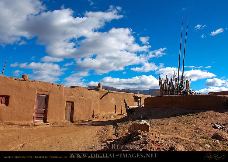 Adobe Houses and Kiva, Northern Tiwa Indian, Taos Pueblo, Taos, New Mexico