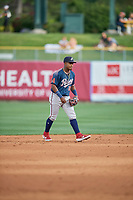 Domingo Leyba (26) of the Reno Aces on defense against the Salt Lake Bees at Smith's Ballpark on June 27, 2019 in Salt Lake City, Utah. The Aces defeated the Bees 10-6. (Stephen Smith/Four Seam Images)