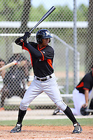 Miami Marlins outfielder Jhonny Santos #77 at bat during an Instructional League intramural game on September 30, 2014 at Roger Dean Complex in Jupiter, Florida.  (Stacy Jo Grant/Four Seam Images)