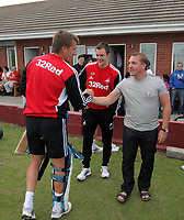Pictured: Manager Brendan Rodgers (R) with Tony Pennock. Friday July 2011<br /> Re: Swansea City FC playing rugby at the Mumbles Cricket Club , fundraising for charity, near Swansea south Wales.