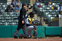 West Virginia Mountaineers catcher Paul McIntosh (34) and home plate umpire Anthony Perez watch the flight of a home run off the bat of Branden Comia (not pictured) of the Illinois Fighting Illini at TicketReturn.com Field at Pelicans Ballpark on February 23, 2020 in Myrtle Beach, South Carolina. The Fighting Illini defeated the Mountaineers 2-1.  (Brian Westerholt/Four Seam Images)