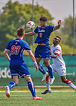 5 September 2014: University of Massachusetts River Hawks Midfielder James Thompkins, a Freshman from Plainville, CT, in action against the St. Francis College Terriers at Virtue Field in Burlington, Vermont. The River Hawks defeated the Terriers 3-1, on their way to finishing the Morgan Stanley Smith Barney Windjammer Classic Men's Soccer Tournament with a 2-0 record, and being crowned as tournament champions on goal differential. Mandatory Credit: Ed Wolfstein Photo *** RAW (NEF) Image File Available ***