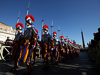 Vatican Swiss Guards march in St. Peter's Square before the Pope Francis' Urbi et Orbi (In Latin 'to the city and to the world' ) Christmas' day blessing from the central loggia of St. Peter's Basilica on December 25, 2019.<br /> UPDATE IMAGES PRESS/Isabella Bonotto<br /> <br /> STRICTLY ONLY FOR EDITORIAL USE