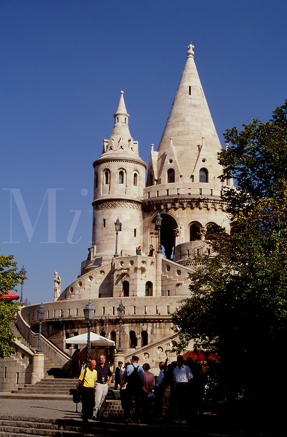The Fisherman's Bastion in Buda sits on a bluff overlooking the Danube River.