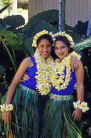 Young female hula dancers with ti leaf skirts and plumeria leis