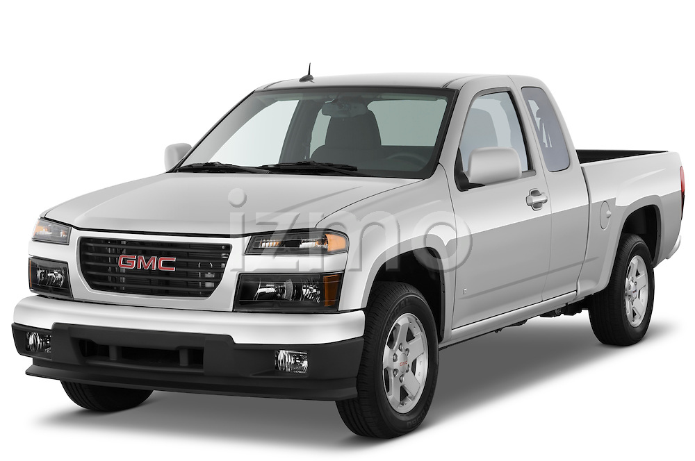 Front three quarter view of a 2009 GMC Canyon SLE Extended Cab.