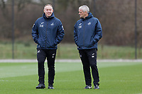 (L-R) Swansea City manager Steve Cooper and Assistant First Team Coach Mike Marsh watch the players train during the Swansea City Training Session at The Fairwood Training Ground, Swansea, Wales, UK. Wednesday 11 March 2020