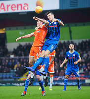 Blackpool's Ben Heneghan vies for possession with Rochdale's Ryan Delaney<br /> <br /> Photographer Chris Vaughan/CameraSport<br /> <br /> The EFL Sky Bet League One - Rochdale v Blackpool - Wednesday 26th December 2018 - Spotland Stadium - Rochdale<br /> <br /> World Copyright &copy; 2018 CameraSport. All rights reserved. 43 Linden Ave. Countesthorpe. Leicester. England. LE8 5PG - Tel: +44 (0) 116 277 4147 - admin@camerasport.com - www.camerasport.com