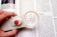 "CONVEX LENS OF MAGNIFYING GLASS ENLARGES TYPE<br /> Dictionary Entry - ""Light""<br /> A typical magnifying glass consists of a single thin bi-convex lens that produces a modest magnification in the range of 1.5x to 30x. It produce a virtual image that is magnified and upright."