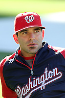 Washington Nationals second baseman Danny Espinosa #18 before a game against the Los Angeles Dodgers at Dodger Stadium on July 23, 2011 in Los Angeles,California. Los Angeles defeated Washington 7-6.(Larry Goren/Four Seam Images)