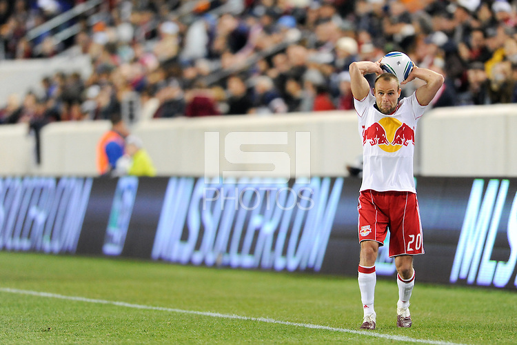 Joel Lindpere (20) of the New York Red Bulls on a throw in. The New York Red Bulls defeated FC Dallas 2-1 during a Major League Soccer (MLS) match at Red Bull Arena in Harrison, NJ, on April 17, 2010.