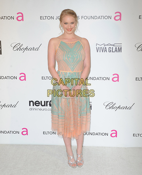 Leven Rambin.The 21st Annual Elton John AIDS Foundation Academy Awards Viewing Party held at The City of West Hollywood Park in West Hollywood, California, USA..February 24th, 2013.oscars full length blue pink dress pattern .CAP/DVS.©DVS/Capital Pictures.