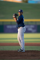 AZL Brewers starting pitcher Brayan Salaya (10) prepares to deliver a pitch during an Arizona League game against the AZL Cubs 1 at Sloan Park on June 29, 2018 in Mesa, Arizona. The AZL Cubs 1 defeated the AZL Brewers 7-1. (Zachary Lucy/Four Seam Images)