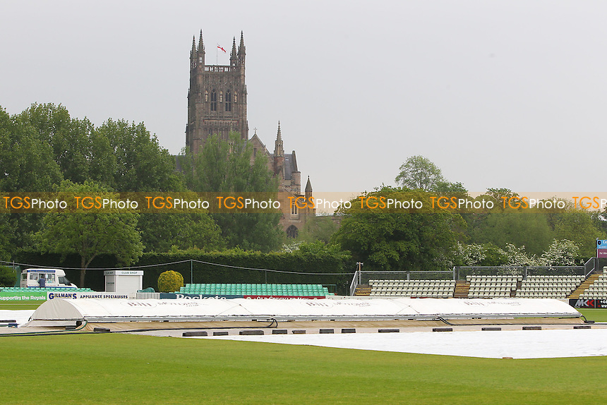 The covers are on as rain delays play once again at New Road - Worcestershire CCC vs Essex CCC - LV County Championship Division Two Cricket at New Road, Worcester - 29/05/13 - MANDATORY CREDIT: Gavin Ellis/TGSPHOTO - Self billing applies where appropriate - 0845 094 6026 - contact@tgsphoto.co.uk - NO UNPAID USE.