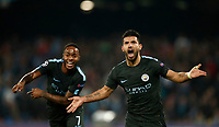 Football Soccer: UEFA Champions League Napoli vs Mabchester City San Paolo stadium Naples, Italy, November 1, 2017. <br /> Manchester City's Sergio Aguero (r) celebrates with his teammate Raheem Sterling (l) during the Uefa Champions League football soccer match between Napoli and Manchester City at San Paolo stadium, November 1, 2017.<br /> UPDATE IMAGES PRESS/Isabella Bonotto