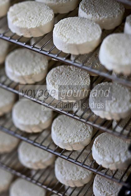 Europe/Europe/France/Midi-Pyrénées/46/Lot/Loubressac: Ferme Cazal-SARL Les Alpines - Production du Rocamadour AOC Fermier -Fromages faris à l' Affinage