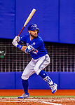 26 March 2018: Toronto Blue Jays outfielder Kevin Pillar at bat during an exhibition game against the St. Louis Cardinals at Olympic Stadium in Montreal, Quebec, Canada. The Cardinals defeated the Blue Jays 5-3 in the first of two MLB pre-season games in the former home of the Montreal Expos. Mandatory Credit: Ed Wolfstein Photo *** RAW (NEF) Image File Available ***