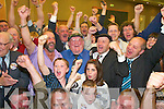 .2017-2030.Jackie Healy-Rae celebrates with his supporters as the result of the recount is announced at the South Kerry count in The Malton Hotel, Killarney, early on Saturday morning...
