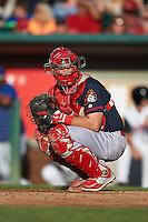 Peoria Chiefs catcher Steve Bean (8) looks to the dugout during a game against the Lansing Lugnuts on June 6, 2015 at Cooley Law School Stadium in Lansing, Michigan.  Lansing defeated Peoria 6-2.  (Mike Janes/Four Seam Images)