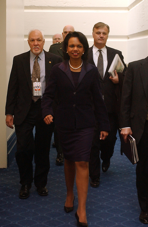 Secretary of State Condolezza Rice, makes her way to a meeting with House members after a meeting with Senators of both parties, during the Policy Luncheons.