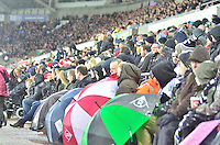 swansea...sport..swansea v aston villa...friday 26th december 2014...<br /> <br /> <br /> Swansea's supporters keeping dry