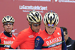 Vincenzo Nibali (ITA) Bahrain-Merida team at sign on before the start of the 2017 Strade Bianche running 175km from Siena to Siena, Tuscany, Italy 4th March 2017.<br /> Picture: Eoin Clarke | Newsfile<br /> <br /> <br /> All photos usage must carry mandatory copyright credit (&copy; Newsfile | Eoin Clarke)