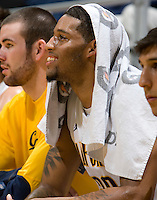Allen Crabbe of California smiles during the game against UC Irvine at Haas Pavilion in Berkeley, California on November 11th, 2011.  California defeated UC Irvine, 77-56.