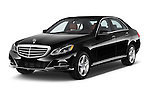 2015 Mercedes Benz E Class Elegance 4 Door Sedan angular front stock photos of front three quarter view