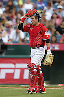 Andrew Romine of the New York Yankees organization participates in the Futures Game at Angel Stadium in Anaheim,California on July 11, 2010. Photo by Larry Goren/Four Seam Images