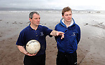 Reenard GAA Club  Chairman Joseph McCrohan with Mikey O'Sullivan (20) at Reenroe Beach in Ballinskelligs, Co. Kerry.  Mikey is departing for Melbourne Australia later this month.  Picture: Eamonn Keogh (MacMonagle, Killarney)..