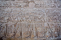 Hieroglyphs on temple wall, Luxor Temple, located at modern day Luxor or ancient Thebes, Egypt