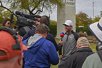 Lucas Bjerregaard (DEN) takes numerous interviews near the green on 18 after defeating Tiger Woods (USA) during day 4 of the WGC Dell Match Play, at the Austin Country Club, Austin, Texas, USA. 3/30/2019.<br /> Picture: Golffile | Ken Murray<br /> <br /> <br /> All photo usage must carry mandatory copyright credit (© Golffile | Ken Murray)