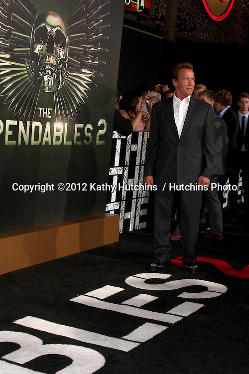 "Los Angeles - AUG 15:  Arnold Schwarzenegger arrives at the ""The Expendables 2""  Premiere at Graumans Chinese Theater on August 15, 2012 in Los Angeles, CA"