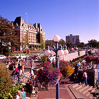 Victoria, BC, Vancouver Island, British Columbia, Canada - Fairmont Empress Hotel and The Upper and Lower Causeway along the Inner Harbour