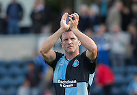 Garry Thompson of Wycombe Wanderers applauds the supporters during the Sky Bet League 2 match between Wycombe Wanderers and Hartlepool United at Adams Park, High Wycombe, England on 5 September 2015. Photo by Andy Rowland.