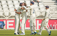 Picture by Allan McKenzie/SWpix.com - 11/09/2014 - Cricket - LV County Championship Div One - Nottinghamshire County Cricket Club v Yorkshire County Cricket Club - Trent Bridge, West Bridgford, England County Cricket Club - Yorkshire's Ryan Sidebottom is congratulated on dismissing Nottinghamshire's Steven Mullaney first ball of the innings.