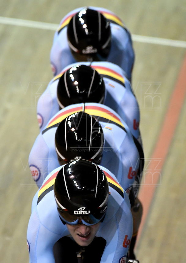 CALI – COLOMBIA – 17-02-2017: Equipo de Belgica, durante prueba de persecución por equipos varones en el Velodromo Alcides Nieto Patiño, sede de la III Valida de la Copa Mundo UCI de Pista de Cali 2017. / Team from Belgium, during a Men´s Teams Pursuit test at the Alcides Nieto Patiño Velodrome, home of the III Valid of the World Cup UCI de Cali Track 2017. Photo: VizzorImage / Luis Ramirez / Staff.