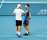 5th January 2020; RAC Arena, Perth, Western Australia; ATP Cup Australia, Perth, Day 3; Italy versus Norway; Simone Bolelli and Fabio Fognini of Italy congratulate each other after defeating Norway in the doubles 2 sets to love - Editorial Use
