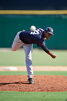 New York Yankees pitcher Yoendrys Gomez (34) delivers a pitch during a Florida Instructional League game against the Philadelphia Phillies on October 12, 2018 at Spectrum Field in Clearwater, Florida.  (Mike Janes/Four Seam Images)