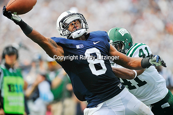 01 September 2012:  Penn State WR Allen Robinson (8) almost makes a one-handed catch in the end zone for a touchdown during the 3rd quarter, but can't pull it in while defended by Ohio CB Ian Wells (41).  The Ohio Bobcats defeated the Penn State Nittany Lions 24-14 at Beaver Stadium in State College, PA.
